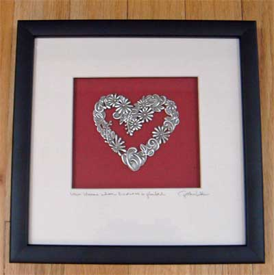 Pewter Heart Framed Wall Art