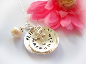 confirmation necklace with cross and pearl