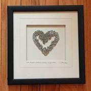 Pewter Framed Flower Heart