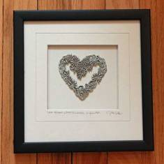 Pewter Framed Flower Heart
